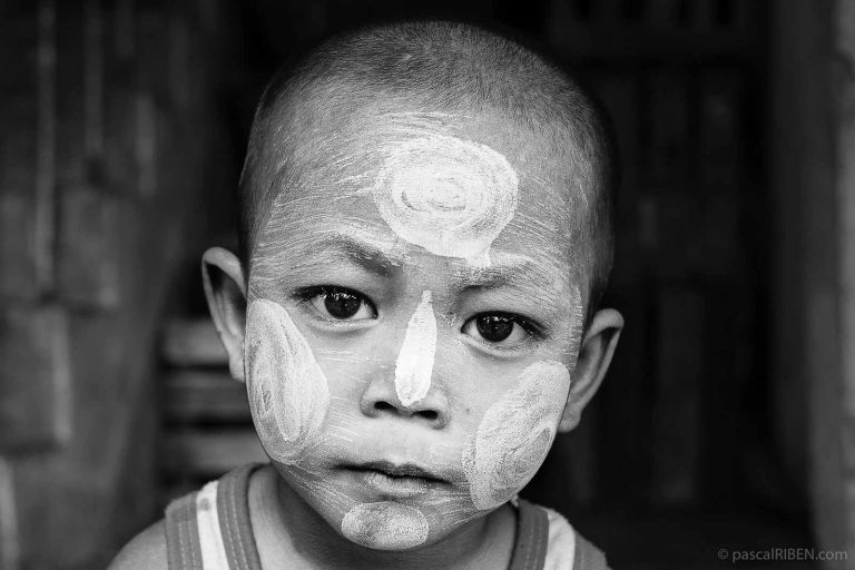 Thanaka on Child Close-up Portrait - Yangon, Myanmar