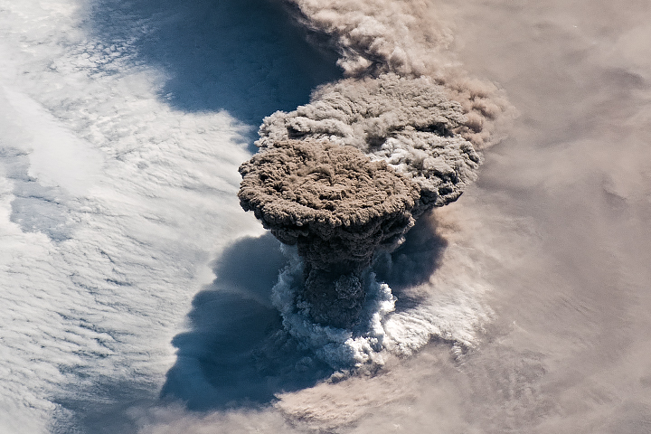 Raikoke Eruption Shot From the Space