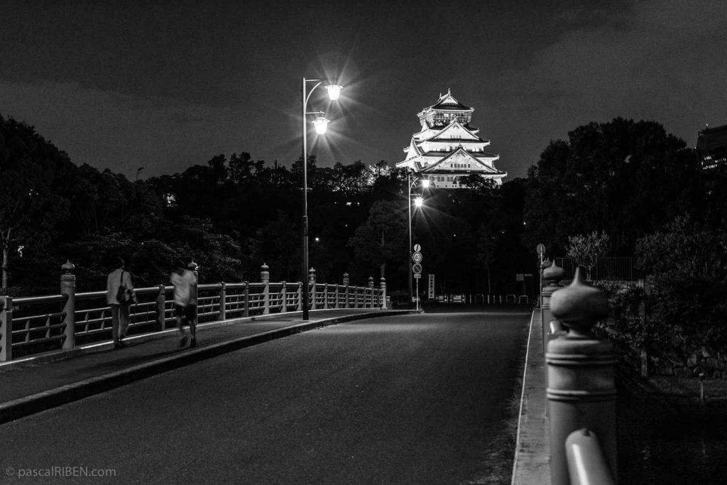 Osaka Castle by night.