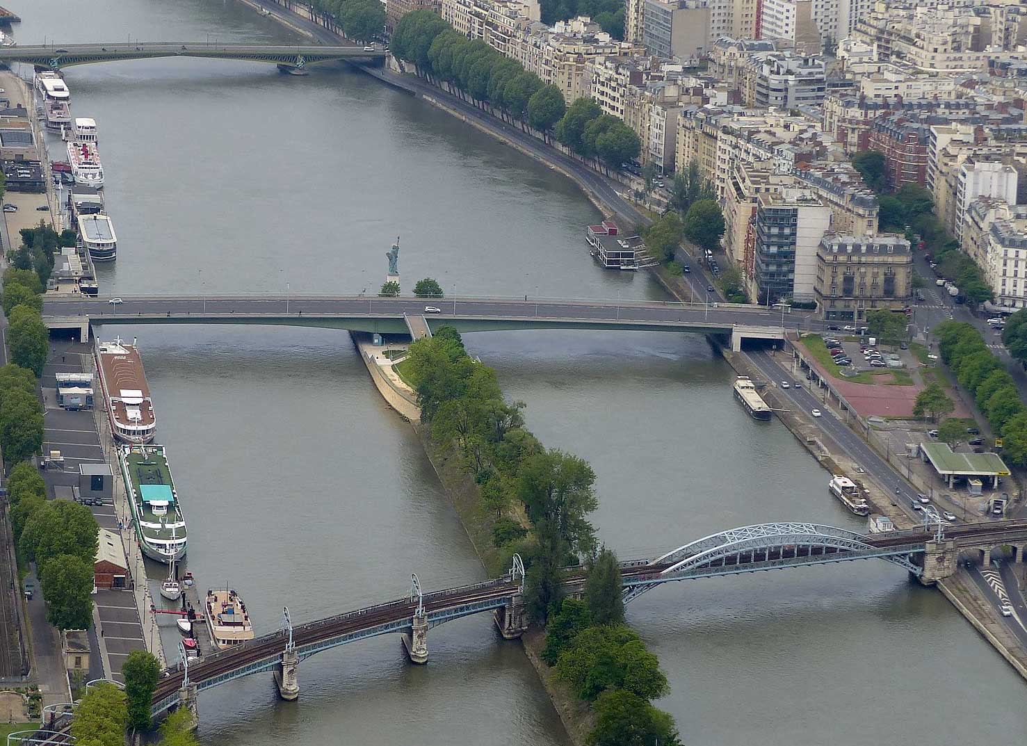 The Île aux Cygnes with the quarter-scale replica of The Statue of Liberty, seen from the Eiffel Tower in Paris.